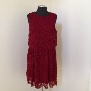 Forever 21+ size 0X dark red lace overlay Dress